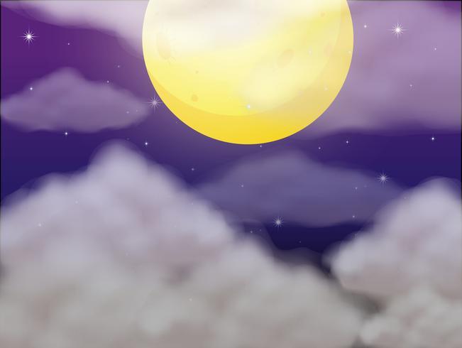 Hintergrundszene mit Vollmond nachts vektor