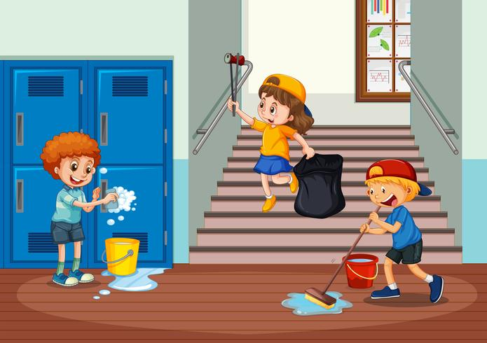 Freiwillige Kinder, die Schuleflur säubern vektor