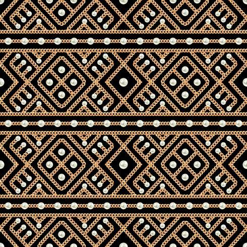 Seamless mönster av guldkedja geometrisk prydnad och pärlor på svart bakgrund. Vektor illustration