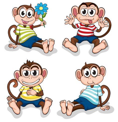Apor med olika ansiktsuttryck vektor