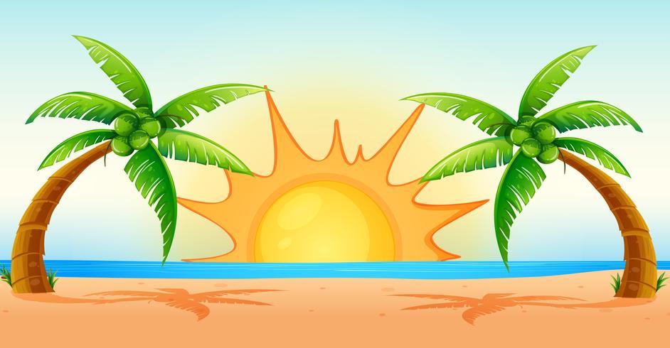 Ozeanszene bei Sonnenaufgang vektor