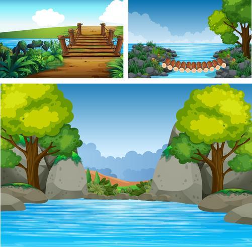 Drei Hintergrundszenen mit Fluss und Bäumen vektor