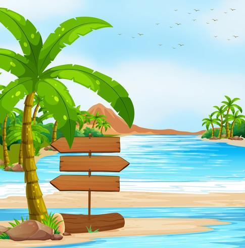 Havsutsikt med skyltar och träd vektor