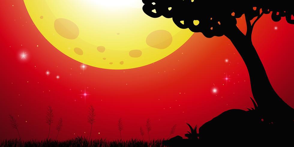Silhuett scen med måne och röd himmel vektor