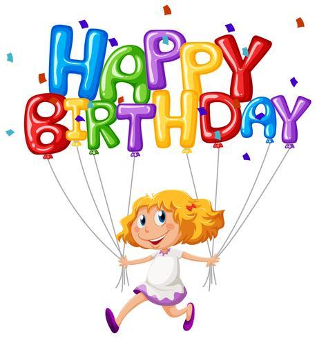 Grattis på födelsedagskort med tjej och ballonger vektor