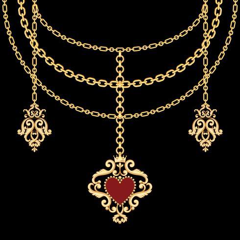 Bakgrund med kedjor guld metalliskt halsband och hänge med hjärta. På svart vektor