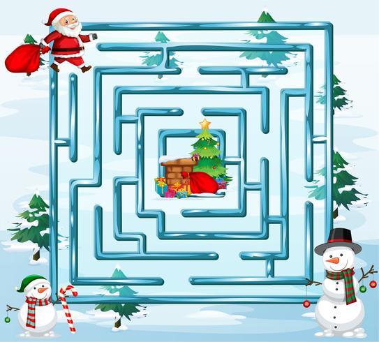 Weihnachtslabyrinth Spielvorlage vektor