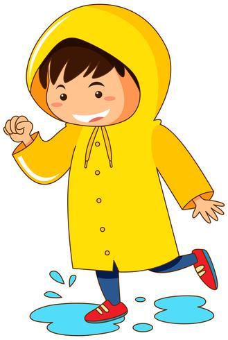 Junge im gelben Regenmantel vektor
