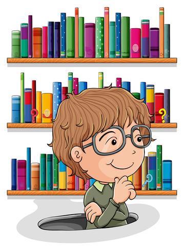 En man undrar inuti hålet med böcker på baksidan vektor