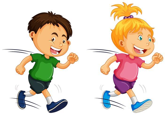 Kinder laufen auf weißem Hintergrund vektor