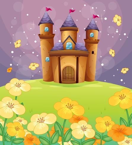 Ein wunderschönes Schloss auf den Feldern vektor