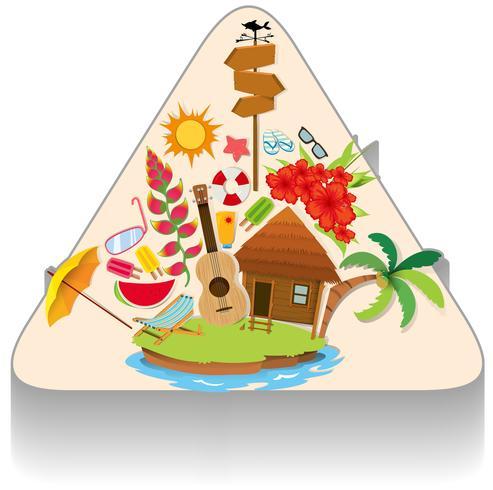 Sommerthema mit Insel und Objekten vektor