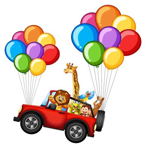 Viele Tiere auf Jeep mit bunten Luftballons vektor