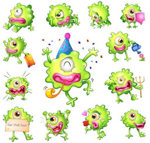Set grüne Monster vektor