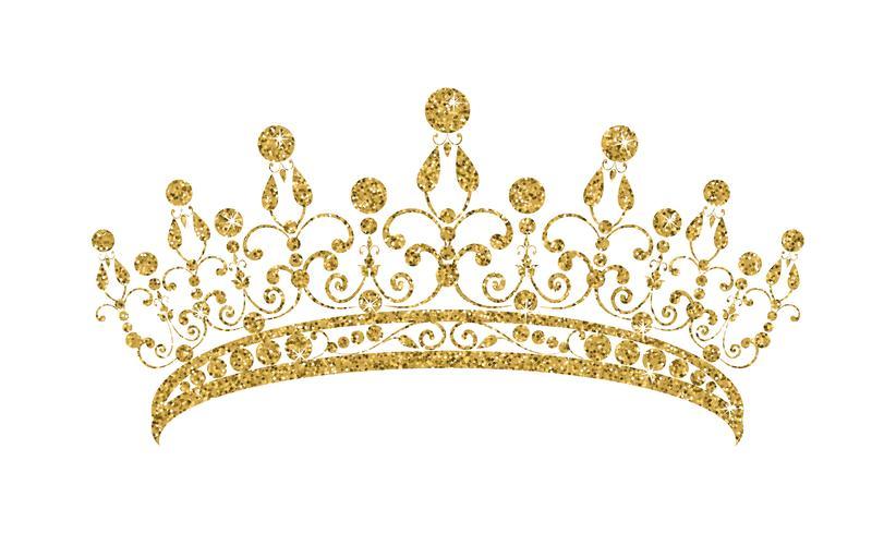 Glittrande Diadem. Guld tiara isolerad på vit bakgrund. vektor