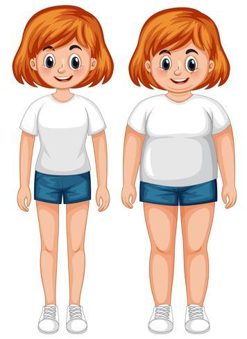 Ein schlankes und dickes Mädchen vektor