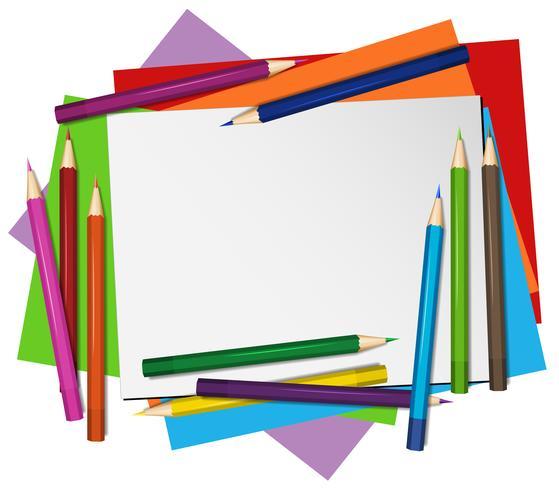 Leeres Papier und Farbbleistifte im Hintergrund vektor
