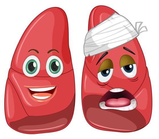 Hälsosam och skadad lunga vektor