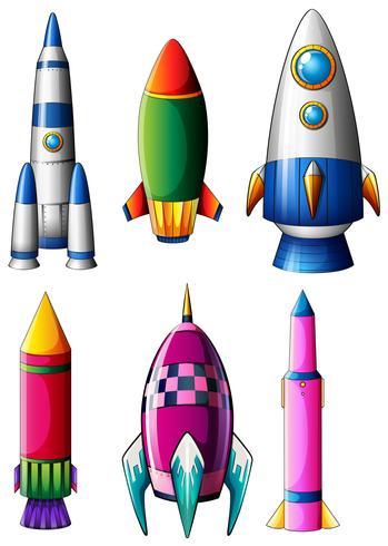 Verschiedene Raketenentwürfe vektor
