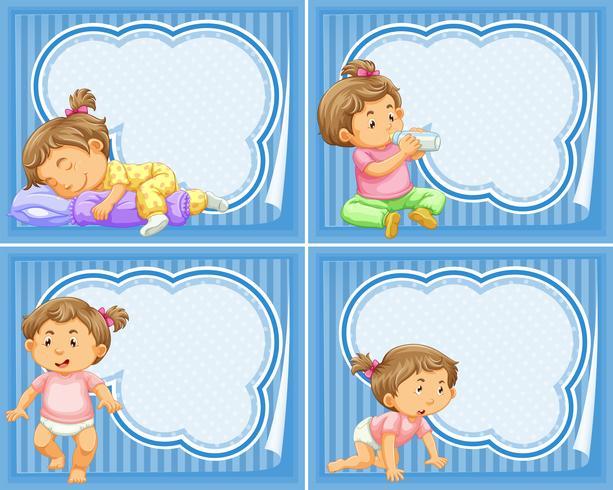 Rahmenschablone mit Kleinkindmädchen vektor