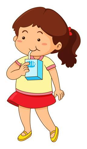 Trinkmilch des kleinen Mädchens vektor