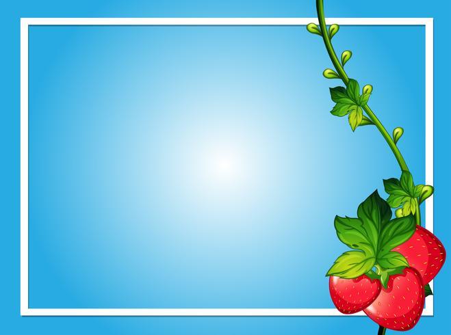 Gränsmall med röda jordgubbar vektor