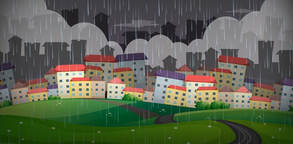 Regnar över den stora staden vektor