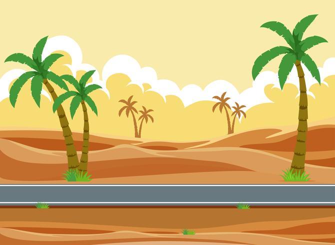 Eine Wüstenstraßenlandschaft vektor