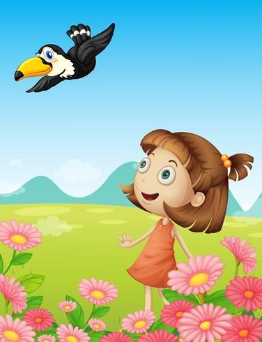 Junges Mädchen und Vogel vektor