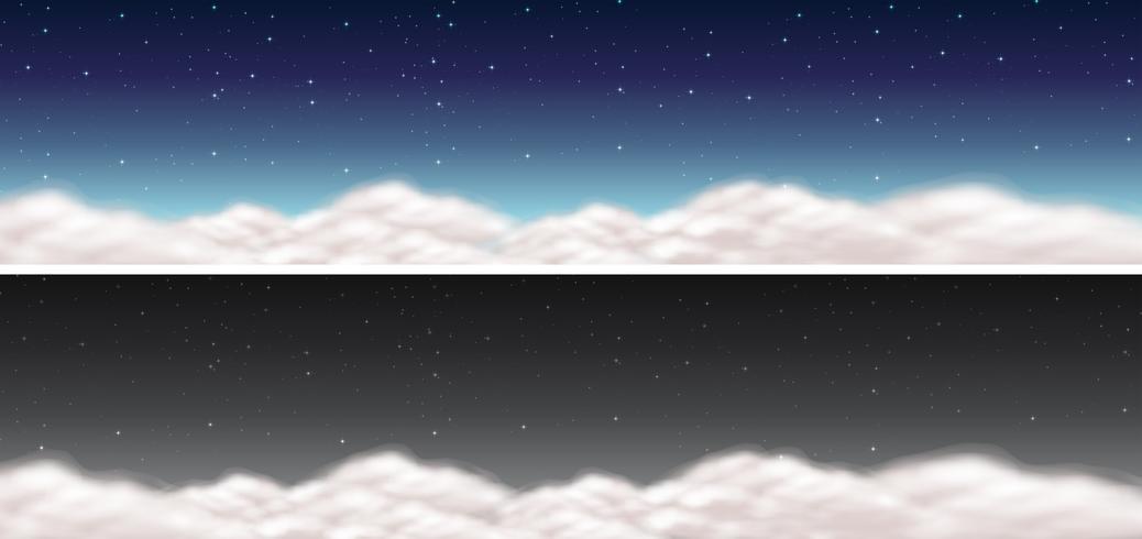 Zwei Himmelszenen mit Wolken und dunklem Himmel vektor