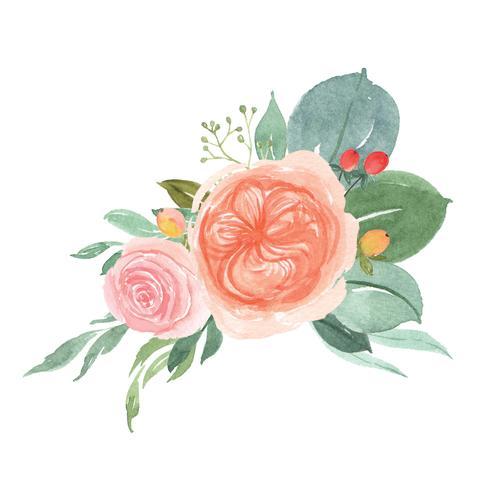 Akvarellblommor handmålade buketter frodiga blommor lustration vintage stil vektor