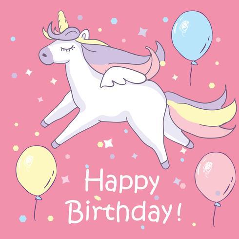 Beautyful enhörning. På rosa bakgrund med balonger och grattis på födelsedagen text vektor