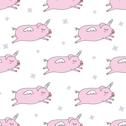 Nahtlose muster hintergrund. Süßes Schwein als Pegasus und Einhorn. vektor