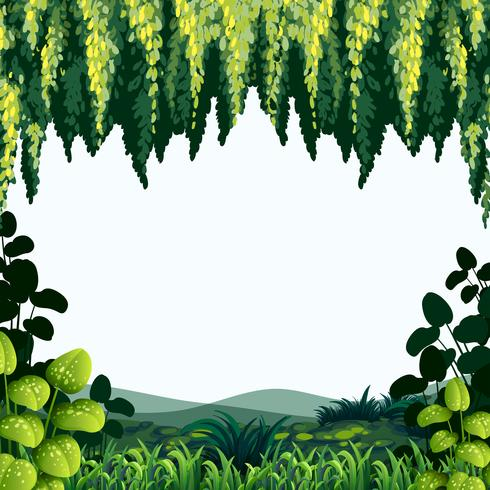 Grenzschablone mit Bäumen und Bergen vektor