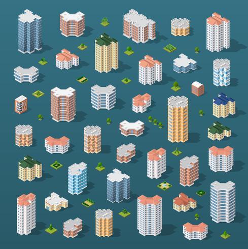 Isometrische 3D-Stadt vektor