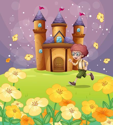 Ein Junge läuft vor dem Schloss mit Blumen vektor