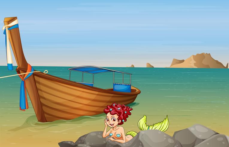Eine Meerjungfrau am Meer in der Nähe des Holzbootes vektor