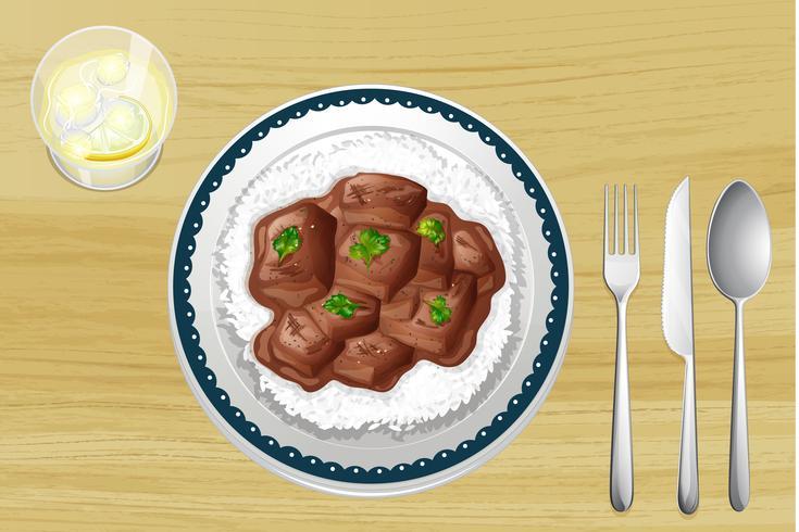 Schweinefleischeintopf mit Reis vektor