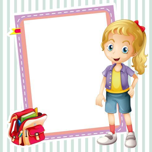 Mädchen, Schultasche und weiße Tafel vektor
