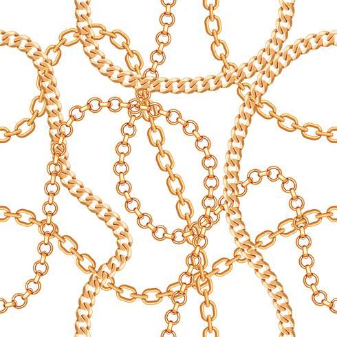 Seamless mönster bakgrund med kedjor guld metallisk halsband. På vitt. Vektor illustration