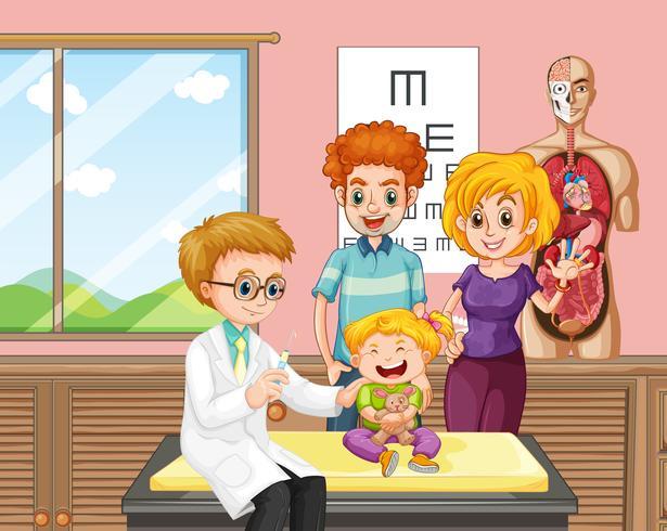 Ein Doktor, der Kinderimpfstoff gibt vektor