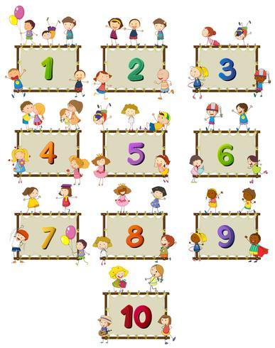 Nummer eins bis zehn mit Kindern im Hintergrund vektor