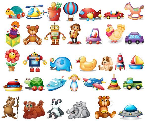 Olika typer av leksaker vektor