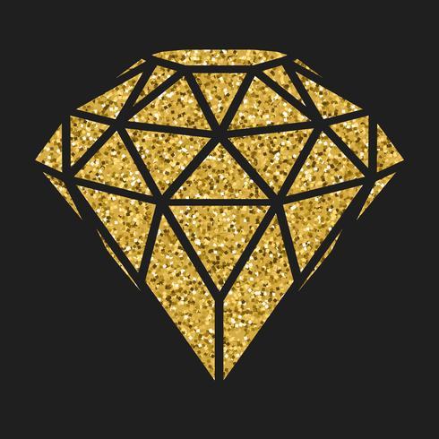 Geometrisk guldglitter diamant isolerad på blackbackground. vektor