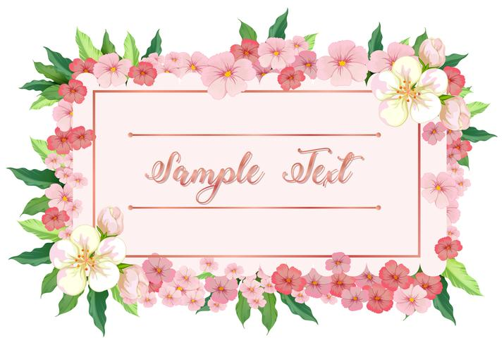 Kartenschablone mit rosa Blumen um Grenze vektor