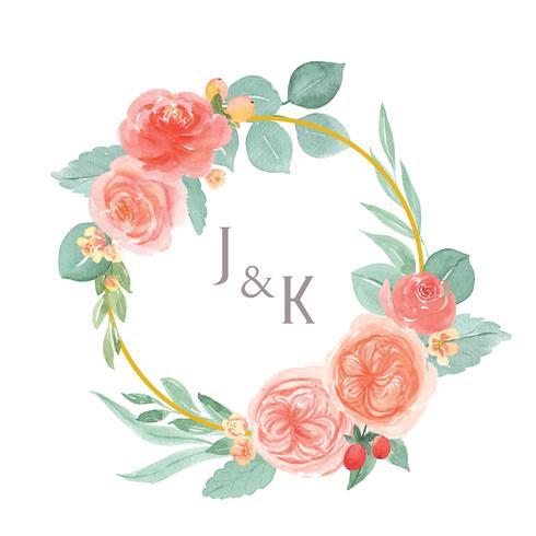 Die Aquarellblumen, die mit Textkränzen handgemalt werden, gestalten Grenze, den üppigen Blumenaquarell, das auf weißem Hintergrund lokalisiert wird. Entwerfen Sie Blumendekor für Karte, sparen Sie das Datum, Hochzeitseinladungskarten, Plakat, Fahnendesig vektor