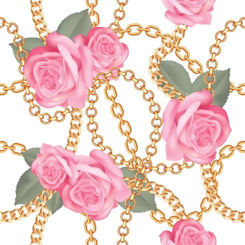 Sömlös mönster bakgrund med gyllene kedjor och rosa realistiska rosor. På vitt. Vektor illustration