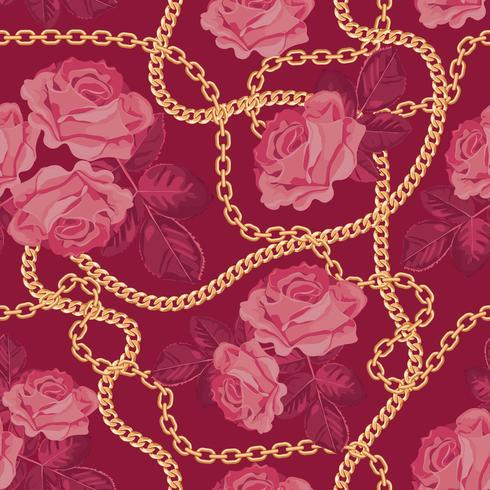 Nahtloser Musterhintergrund mit goldenen Ketten und rosa Rosen. Auf lila pink. Vektor-Illustration vektor