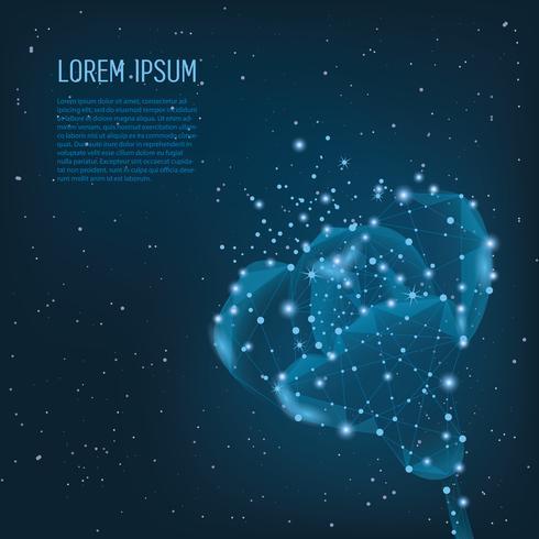 Kreative polygonale Blume auf dunkelblauem Hintergrund. Wissenschafts- und Beauty-Innovationskonzept im Low-Poly-Drahtgitterstil. vektor