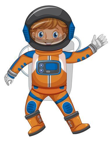 Kind in der Astronautenausstattung auf weißem Hintergrund vektor